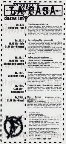 Rückseite des Monatsflyers für den November 2001