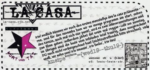 Vorderseite des Monatsflyers für den November 2001