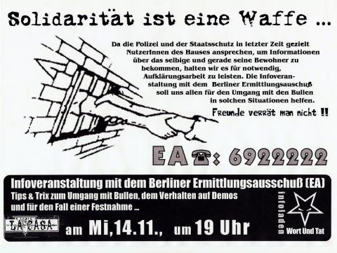 Plakat zum 14. November 2001