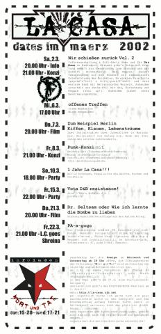 Die Rückseite des Monatsflyer für den März 2002