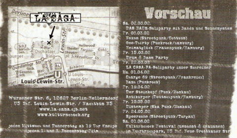 Rückseite des Flyers zum 15. März 2002