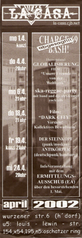 Monatsflyer für den April 2002
