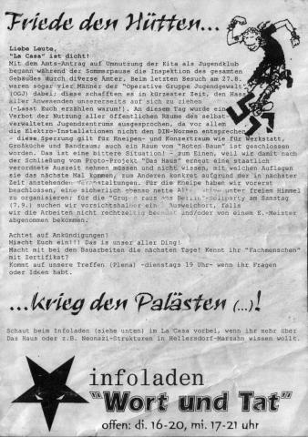 Flyer zur baupolizeilichen Sperrung im September 2002