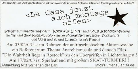 Flyer für die montägliche Soli-Bar vom Januar 2003