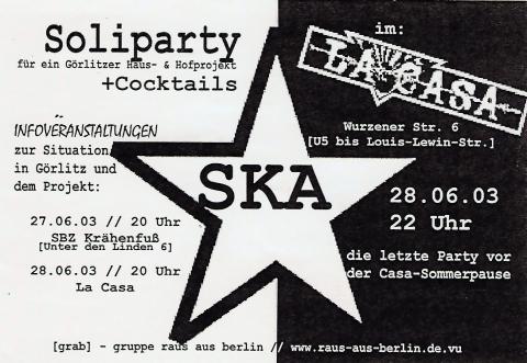 ein Flyer zum 28. Juni 2003