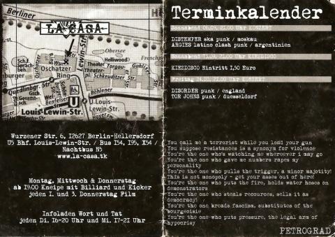 Rückseite des Flyers zum 6. September 2003