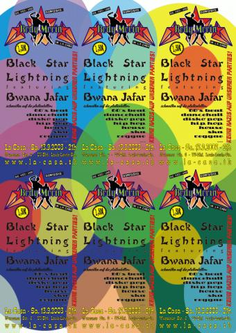Ein Bogen mit sechs Flyer für den 13. September 2003. Jeder der sechs Flyer hat einen anderen Hintergrund.