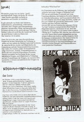 Rückseite des Monatsflyers für den Oktober 2003