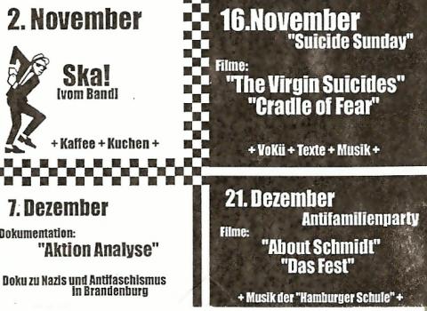 """Rückseite des Flyers für den """"Lazy Sunday"""" im November und Dezember 2003"""