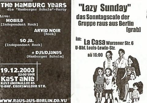 """Vorderseite des Flyers für den """"Lazy Sunday"""" im November und Dezember 2003"""