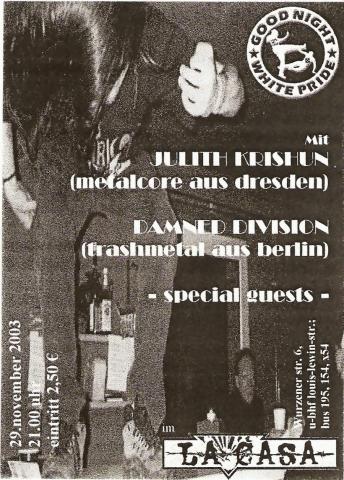Flyer zum 29. November 2003