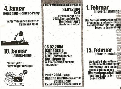 "Rückseite des Flyers für den ""Lazy Sunday"" im Januar und Februar 2004"