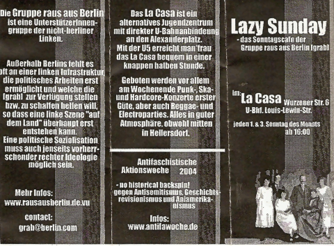 """Vorderseite des Flyers für den """"Lazy Sunday"""" im Januar und Februar 2004"""
