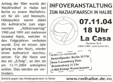 Flyer zum 7. November 2004