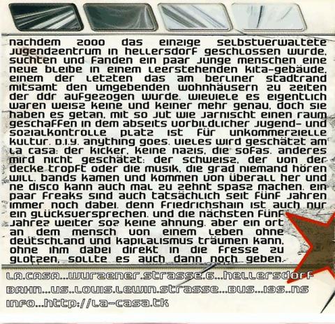 Rückseite des Flyers zum 10. & 11. März 2006