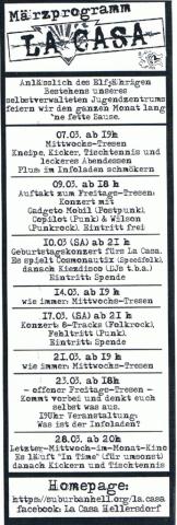 Flyer mit dem Programm im März 2012