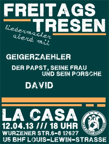 Flyer zum Freitagstresen am 12. April 2013