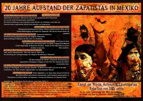 """Plakat zur Veranstaltungsreihe """"20 jahre Aufstand der Zapatistas in Mexiko"""""""