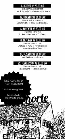 Horte-Seite des Übersichtsflyers vom Oktober 2013 bis zum Feburar 2014