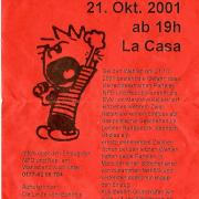 Flyer zum 21. Oktober 2001