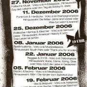 Programmflyer für den Montagstresen vom 27. November 2006 bis zum 19. Februar 2007